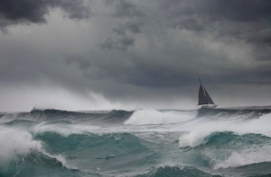 sailboat in a storm