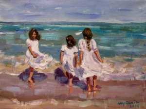 Three girls by the sea