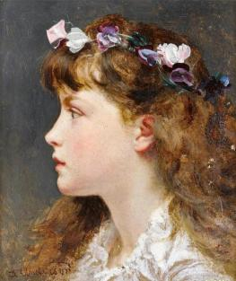 girl with flower garland