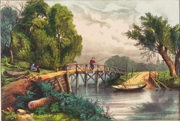 fisherman on a bridge