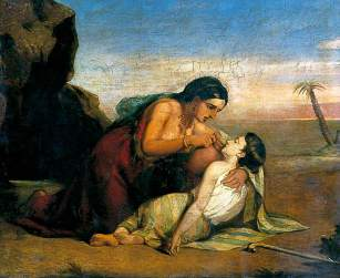 Claxton, Marshall, 1813-1881; Hagar and Ishmael at the Well